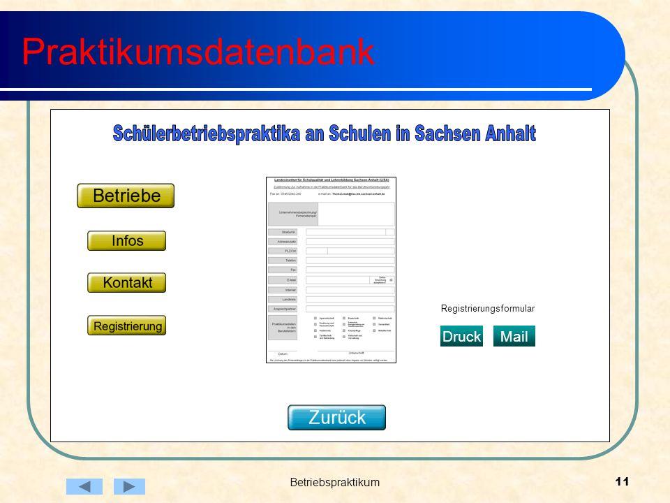 Betriebspraktikum11 Praktikumsdatenbank Registrierungsformular DruckMail