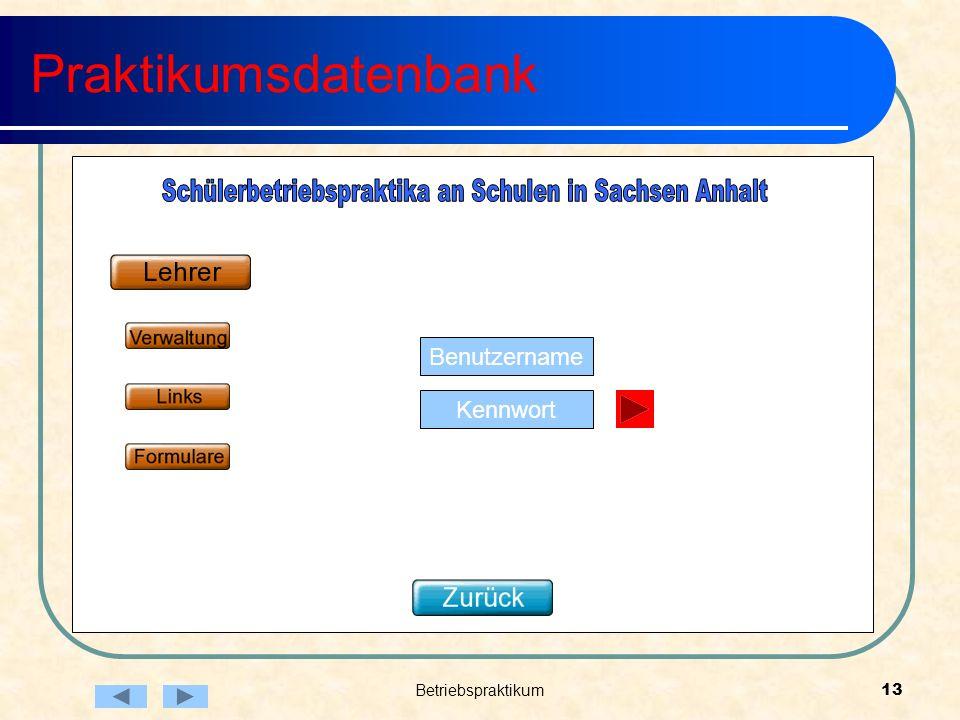 Betriebspraktikum13 Praktikumsdatenbank Benutzername Kennwort