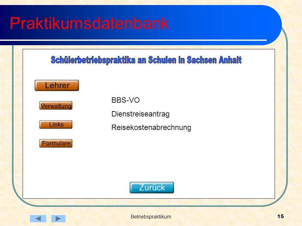 Betriebspraktikum15 Praktikumsdatenbank BBS-VO Dienstreiseantrag Reisekostenabrechnung