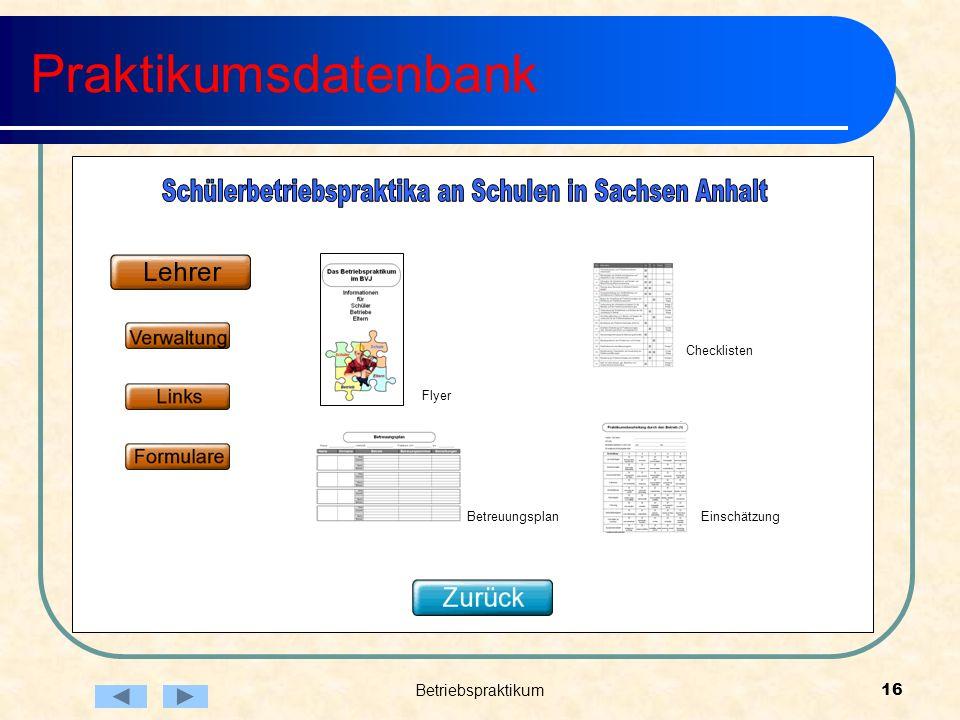 Betriebspraktikum16 Praktikumsdatenbank Betreuungsplan Flyer Checklisten Einschätzung