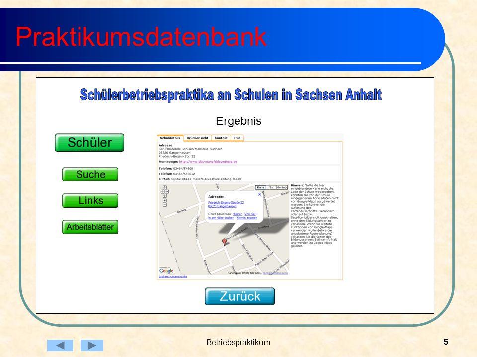 Betriebspraktikum5 Praktikumsdatenbank Ergebnis