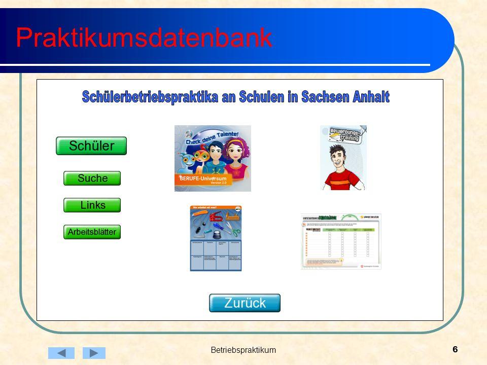 Betriebspraktikum6 Praktikumsdatenbank
