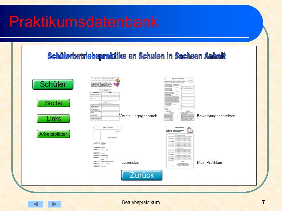 Betriebspraktikum7 Praktikumsdatenbank Vorstellungsgespräch Lebenslauf Bewerbungsschreiben Mein Praktikum