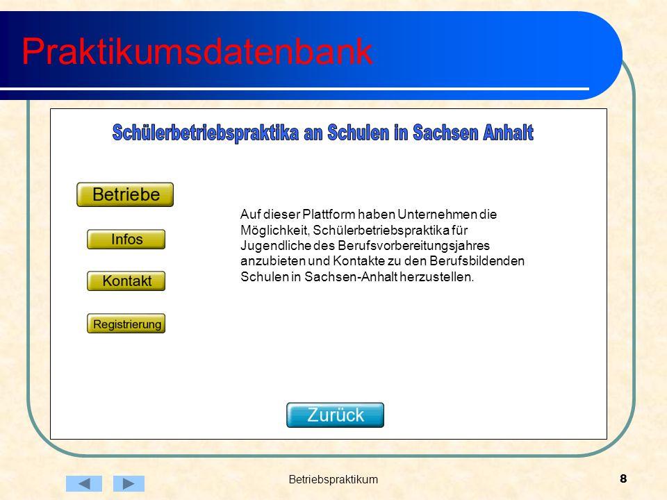Betriebspraktikum8 Praktikumsdatenbank Auf dieser Plattform haben Unternehmen die Möglichkeit, Schülerbetriebspraktika für Jugendliche des Berufsvorbereitungsjahres anzubieten und Kontakte zu den Berufsbildenden Schulen in Sachsen-Anhalt herzustellen.
