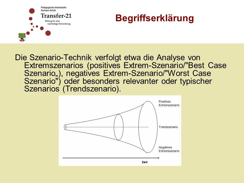 Die Szenario-Technik verfolgt etwa die Analyse von Extremszenarios (positives Extrem-Szenario/ Best Case Szenario), negatives Extrem-Szenario/ Worst Case Szenario ) oder besonders relevanter oder typischer Szenarios (Trendszenario).