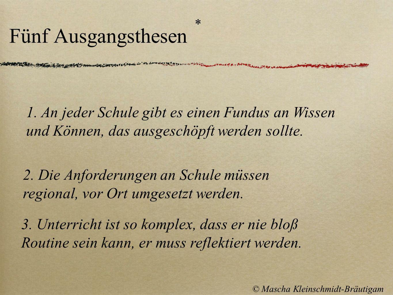 Fünf Ausgangsthesen * © Mascha Kleinschmidt-Bräutigam 3. Unterricht ist so komplex, dass er nie bloß Routine sein kann, er muss reflektiert werden. 2.