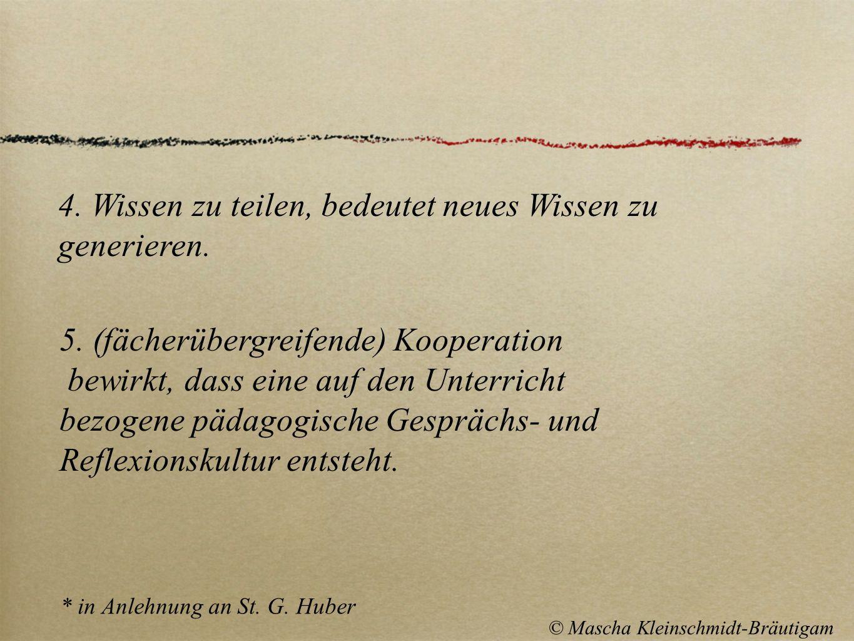 * in Anlehnung an St. G. Huber © Mascha Kleinschmidt-Bräutigam 5. (fächerübergreifende) Kooperation bewirkt, dass eine auf den Unterricht bezogene päd