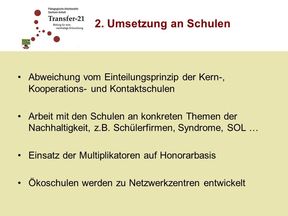 Abweichung vom Einteilungsprinzip der Kern-, Kooperations- und Kontaktschulen Arbeit mit den Schulen an konkreten Themen der Nachhaltigkeit, z.B. Schü
