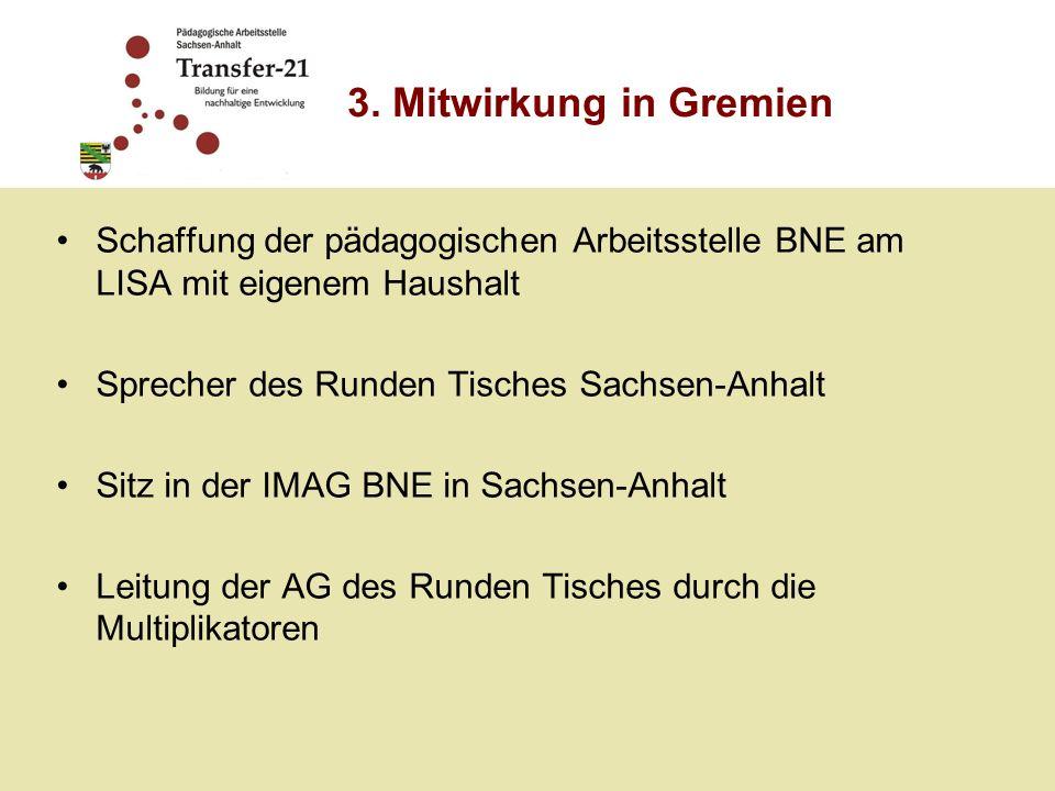 Schaffung der pädagogischen Arbeitsstelle BNE am LISA mit eigenem Haushalt Sprecher des Runden Tisches Sachsen-Anhalt Sitz in der IMAG BNE in Sachsen-