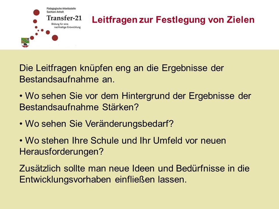 Ziele im Bereich der BNE 1.Bildungsziele und Kompetenzen 2.Unterricht und Lernkultur 3.Schulleben und Schulkultur 4.Öffnung von Schule und Kooperation 5.