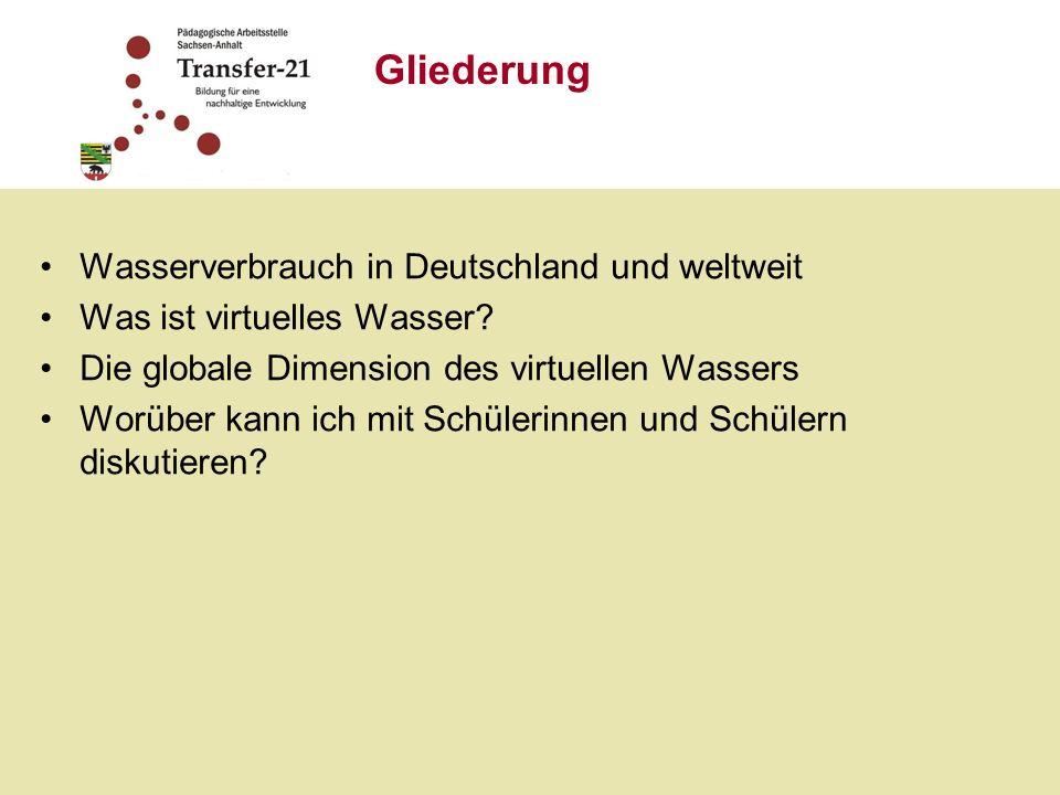 Wasserverbrauch in Deutschland und weltweit Was ist virtuelles Wasser.