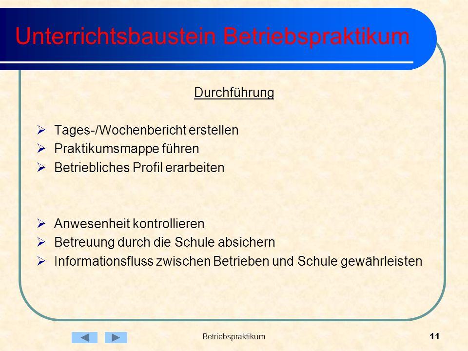 Betriebspraktikum11 Unterrichtsbaustein Betriebspraktikum Durchführung Tages-/Wochenbericht erstellen Praktikumsmappe führen Betriebliches Profil erar