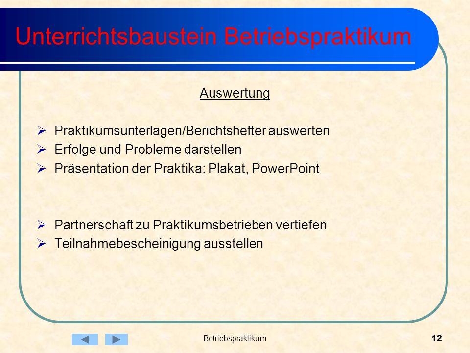 Betriebspraktikum12 Unterrichtsbaustein Betriebspraktikum Auswertung Praktikumsunterlagen/Berichtshefter auswerten Erfolge und Probleme darstellen Prä