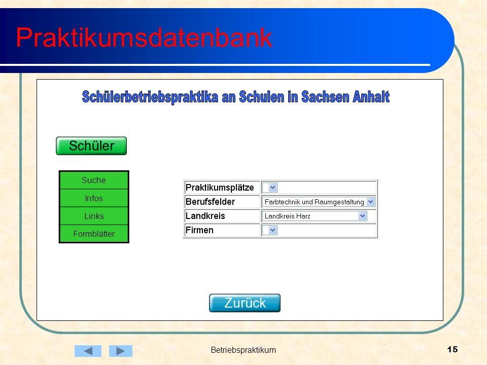 Betriebspraktikum15 Praktikumsdatenbank Suche Infos Links Formblätter