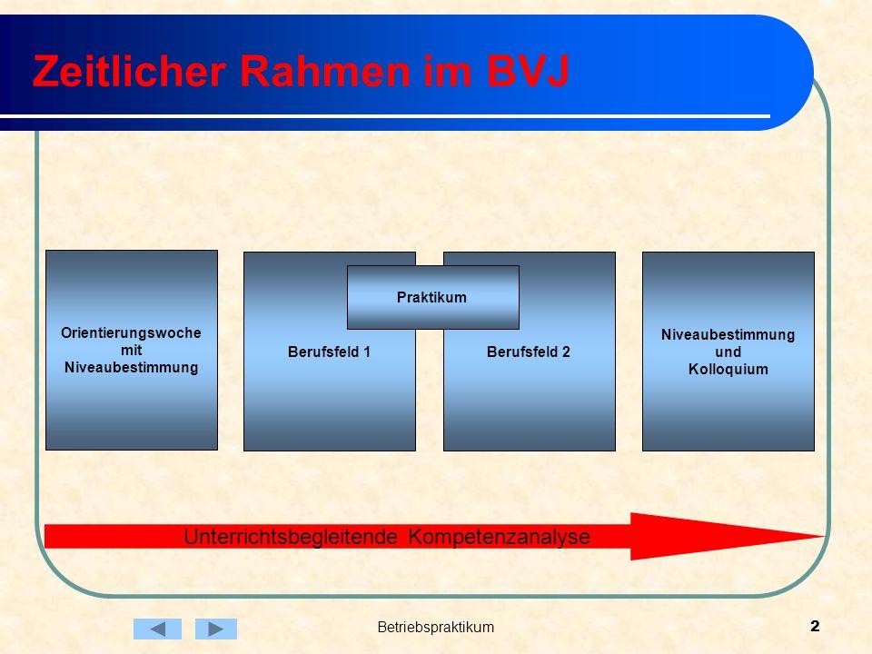 Betriebspraktikum2 Zeitlicher Rahmen im BVJ Unterrichtsbegleitende Kompetenzanalyse Berufsfeld 2 Niveaubestimmung und Kolloquium Berufsfeld 1 Orientie