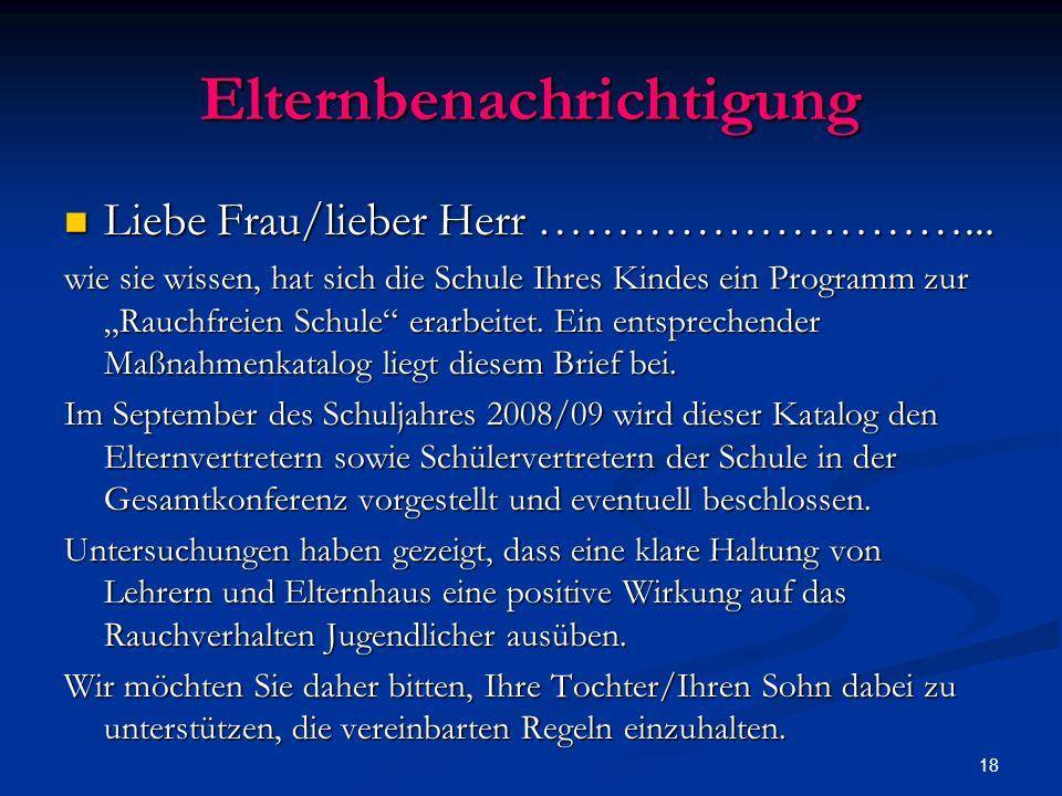 18 Elternbenachrichtigung Liebe Frau/lieber Herr ………………………...