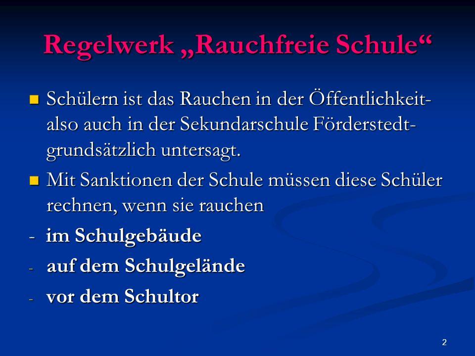 2 Regelwerk Rauchfreie Schule Schülern ist das Rauchen in der Öffentlichkeit- also auch in der Sekundarschule Förderstedt- grundsätzlich untersagt.