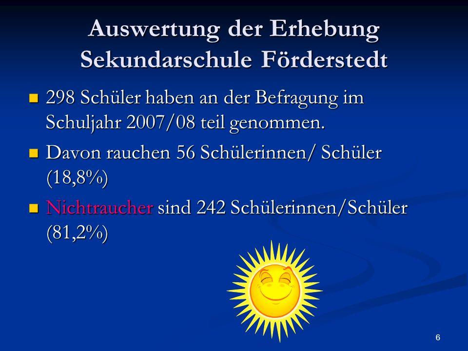 6 Auswertung der Erhebung Sekundarschule Förderstedt 298 Schüler haben an der Befragung im Schuljahr 2007/08 teil genommen. 298 Schüler haben an der B