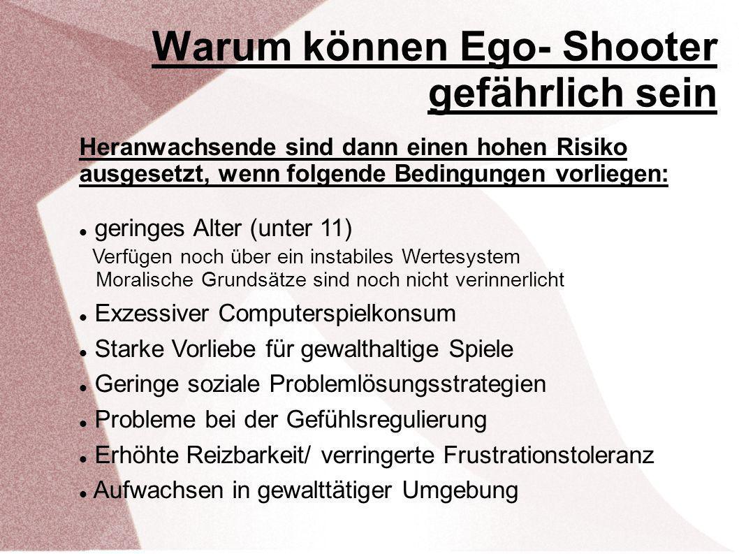 Warum können Ego- Shooter gefährlich sein Heranwachsende sind dann einen hohen Risiko ausgesetzt, wenn folgende Bedingungen vorliegen: geringes Alter