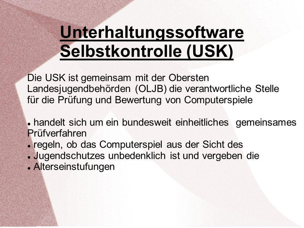 Die USK ist gemeinsam mit der Obersten Landesjugendbehörden (OLJB) die verantwortliche Stelle für die Prüfung und Bewertung von Computerspiele handelt