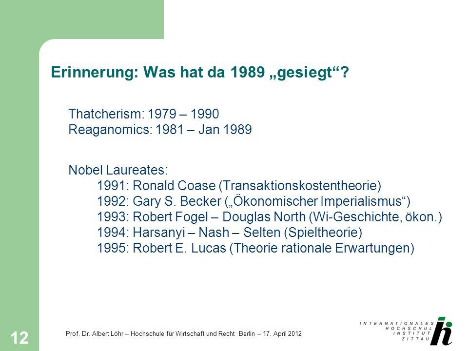 Prof. Dr. Albert Löhr – Hochschule für Wirtschaft und Recht Berlin – 17. April 2012 12 Erinnerung: Was hat da 1989 gesiegt? Thatcherism: 1979 – 1990 R