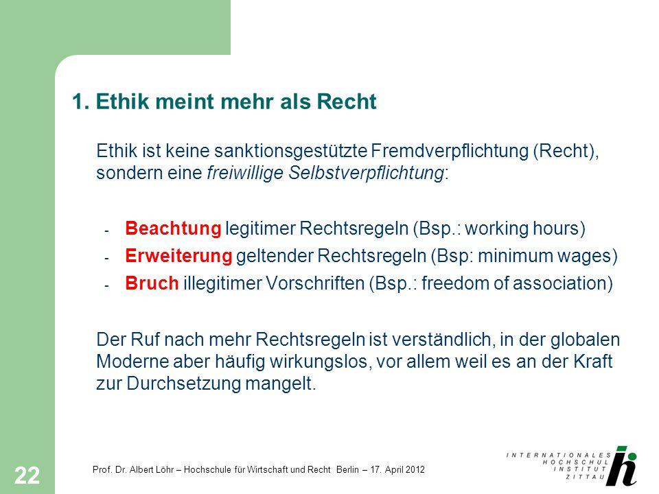 Prof. Dr. Albert Löhr – Hochschule für Wirtschaft und Recht Berlin – 17. April 2012 22 1. Ethik meint mehr als Recht Ethik ist keine sanktionsgestützt