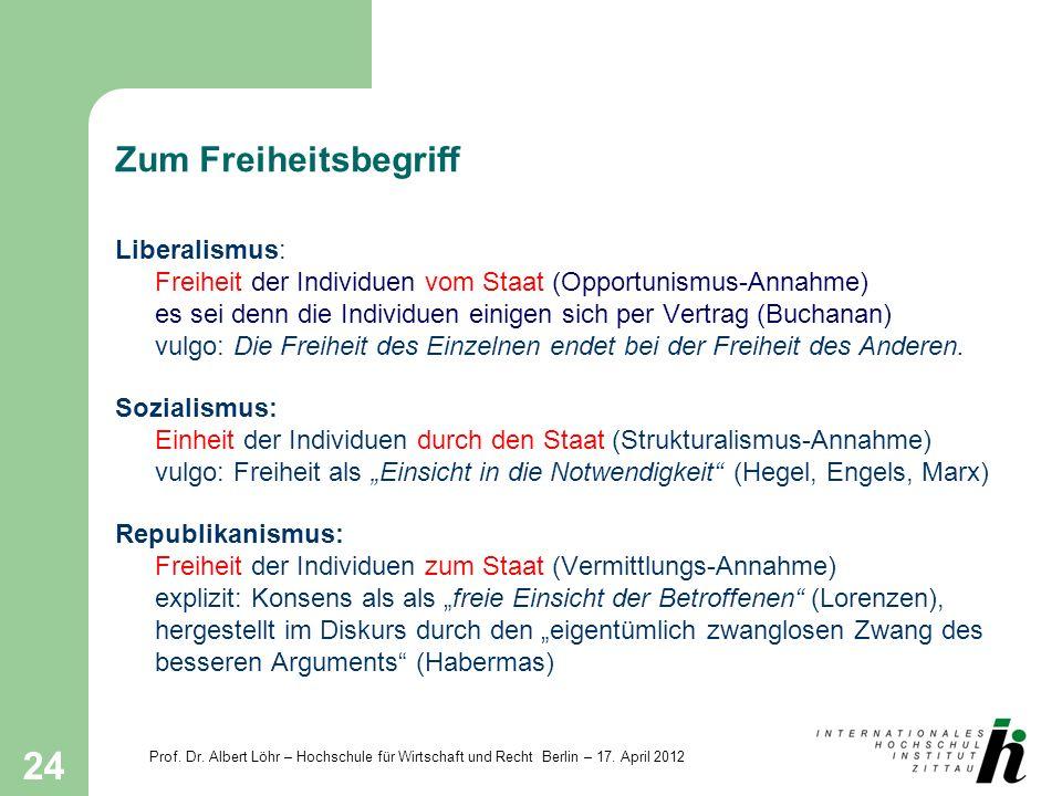 Prof. Dr. Albert Löhr – Hochschule für Wirtschaft und Recht Berlin – 17. April 2012 24 Zum Freiheitsbegriff Liberalismus: Freiheit der Individuen vom