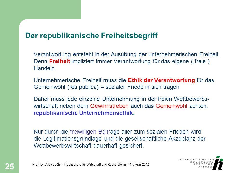 Prof. Dr. Albert Löhr – Hochschule für Wirtschaft und Recht Berlin – 17. April 2012 25 Der republikanische Freiheitsbegriff Verantwortung entsteht in