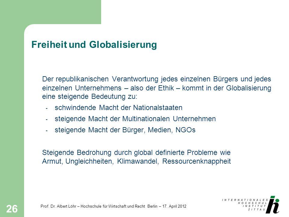 Prof. Dr. Albert Löhr – Hochschule für Wirtschaft und Recht Berlin – 17. April 2012 26 Freiheit und Globalisierung Der republikanischen Verantwortung
