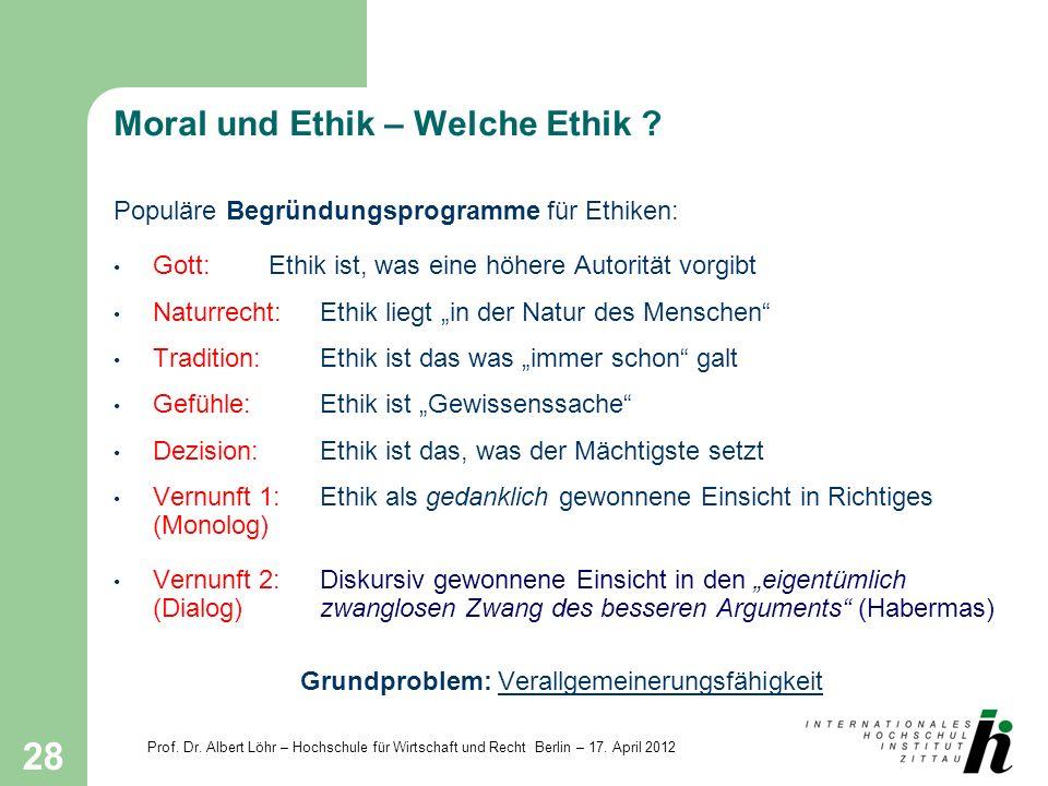 Prof. Dr. Albert Löhr – Hochschule für Wirtschaft und Recht Berlin – 17. April 2012 28 Moral und Ethik – Welche Ethik ? Populäre Begründungsprogramme