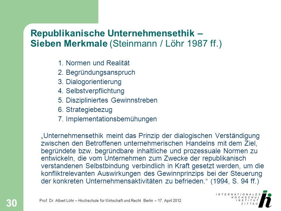 Prof. Dr. Albert Löhr – Hochschule für Wirtschaft und Recht Berlin – 17. April 2012 30 Republikanische Unternehmensethik – Sieben Merkmale (Steinmann