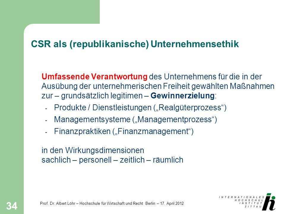 Prof. Dr. Albert Löhr – Hochschule für Wirtschaft und Recht Berlin – 17. April 2012 34 CSR als (republikanische) Unternehmensethik Umfassende Verantwo