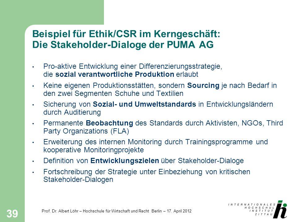 Prof. Dr. Albert Löhr – Hochschule für Wirtschaft und Recht Berlin – 17. April 2012 39 Beispiel für Ethik/CSR im Kerngeschäft: Die Stakeholder-Dialoge