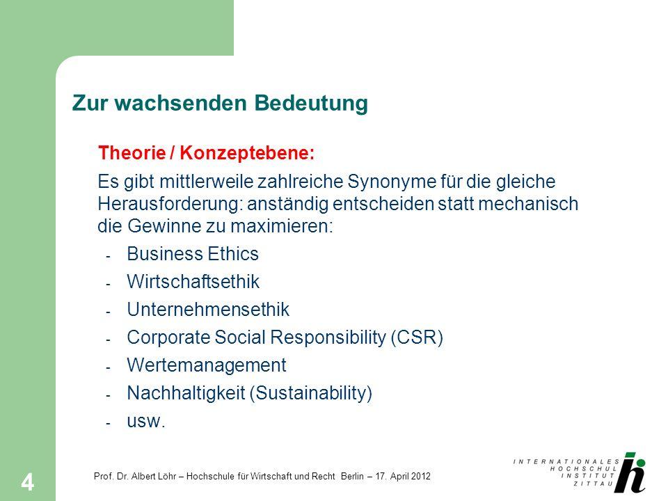 Prof. Dr. Albert Löhr – Hochschule für Wirtschaft und Recht Berlin – 17. April 2012 4 Zur wachsenden Bedeutung Theorie / Konzeptebene: Es gibt mittler