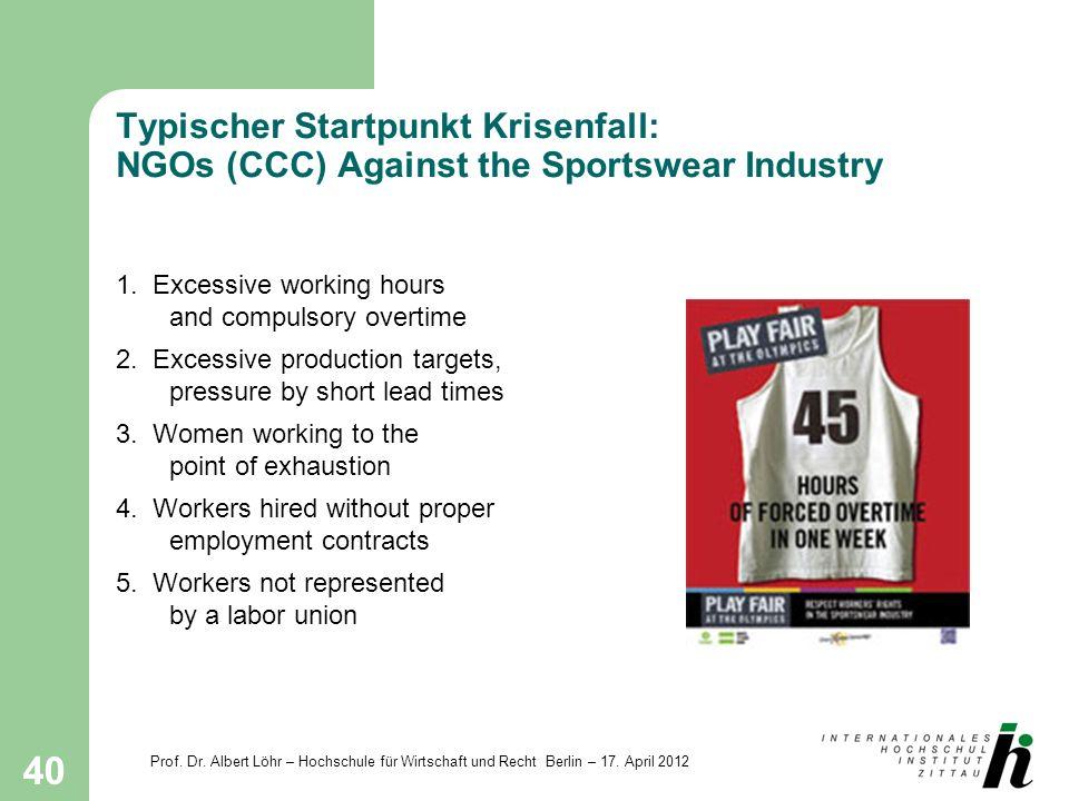 Prof. Dr. Albert Löhr – Hochschule für Wirtschaft und Recht Berlin – 17. April 2012 40 Typischer Startpunkt Krisenfall: NGOs (CCC) Against the Sportsw