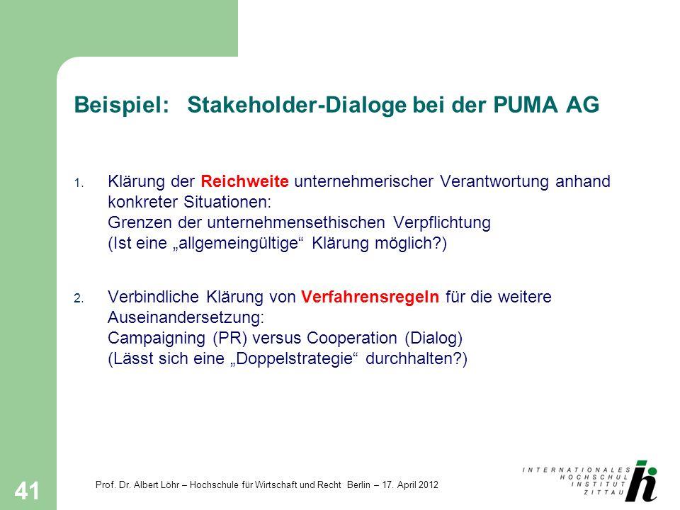 Prof. Dr. Albert Löhr – Hochschule für Wirtschaft und Recht Berlin – 17. April 2012 41 Beispiel: Stakeholder-Dialoge bei der PUMA AG 1. Klärung der Re