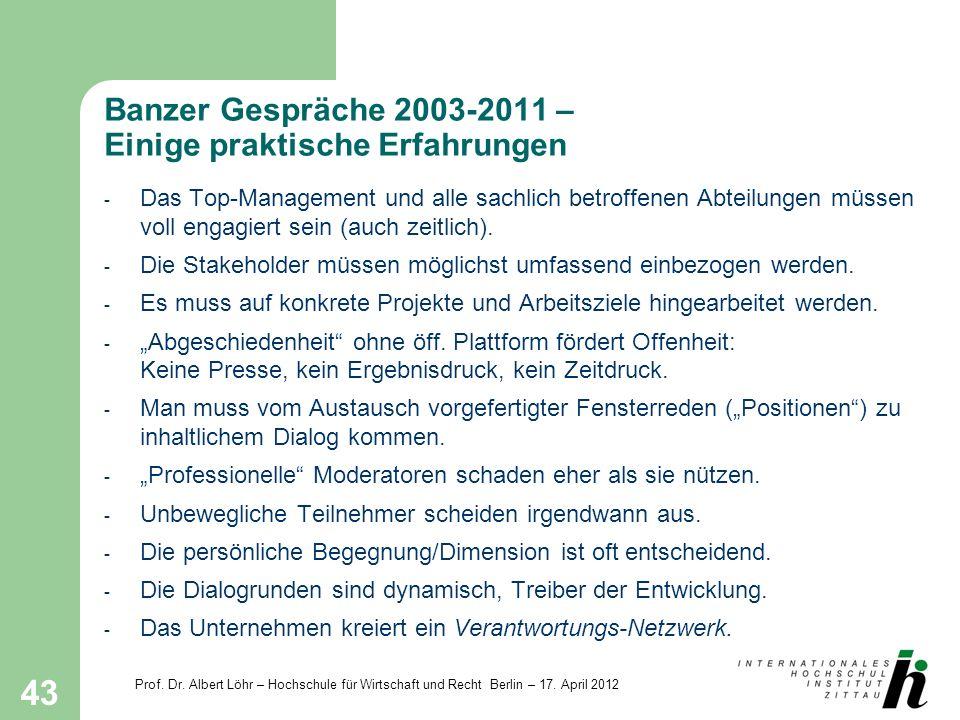 Prof. Dr. Albert Löhr – Hochschule für Wirtschaft und Recht Berlin – 17. April 2012 43 Banzer Gespräche 2003-2011 – Einige praktische Erfahrungen - Da