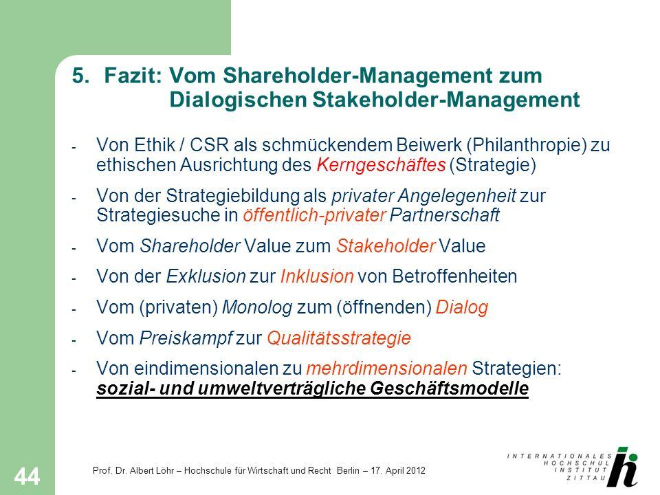 Prof. Dr. Albert Löhr – Hochschule für Wirtschaft und Recht Berlin – 17. April 2012 44 5.Fazit: Vom Shareholder-Management zum Dialogischen Stakeholde