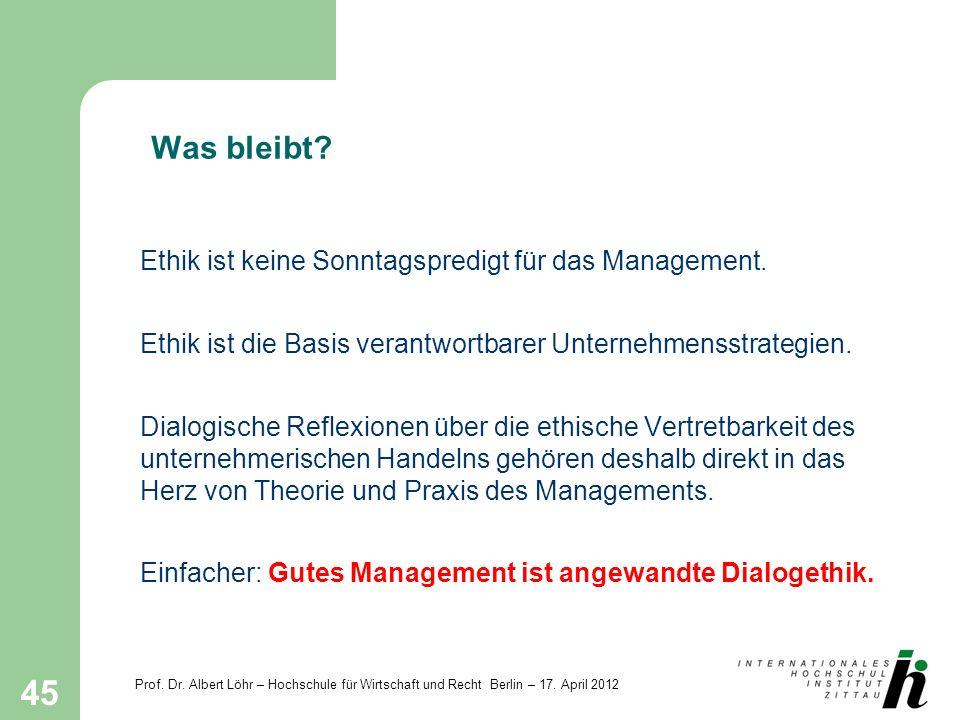 Prof. Dr. Albert Löhr – Hochschule für Wirtschaft und Recht Berlin – 17. April 2012 45 Was bleibt? Ethik ist keine Sonntagspredigt für das Management.