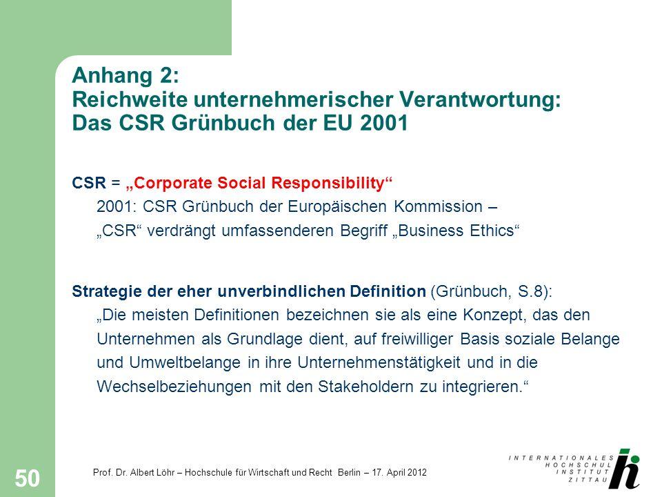Prof. Dr. Albert Löhr – Hochschule für Wirtschaft und Recht Berlin – 17. April 2012 50 Anhang 2: Reichweite unternehmerischer Verantwortung: Das CSR G