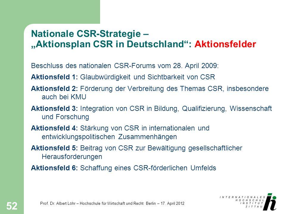 Prof. Dr. Albert Löhr – Hochschule für Wirtschaft und Recht Berlin – 17. April 2012 52 Nationale CSR-Strategie – Aktionsplan CSR in Deutschland: Aktio