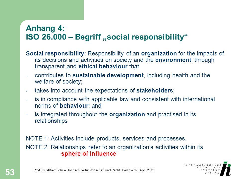 Prof. Dr. Albert Löhr – Hochschule für Wirtschaft und Recht Berlin – 17. April 2012 53 Anhang 4: ISO 26.000 – Begriff social responsibility Social res