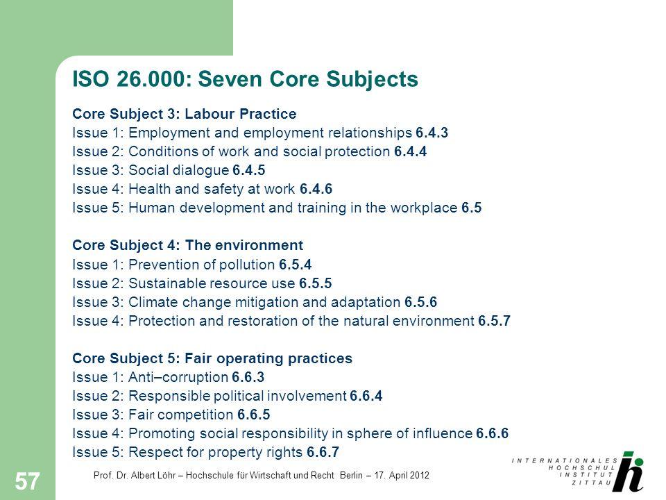 Prof. Dr. Albert Löhr – Hochschule für Wirtschaft und Recht Berlin – 17. April 2012 57 ISO 26.000: Seven Core Subjects Core Subject 3: Labour Practice