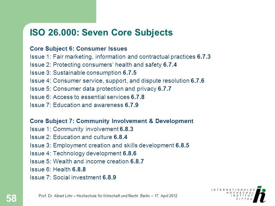 Prof. Dr. Albert Löhr – Hochschule für Wirtschaft und Recht Berlin – 17. April 2012 58 ISO 26.000: Seven Core Subjects Core Subject 6: Consumer Issues