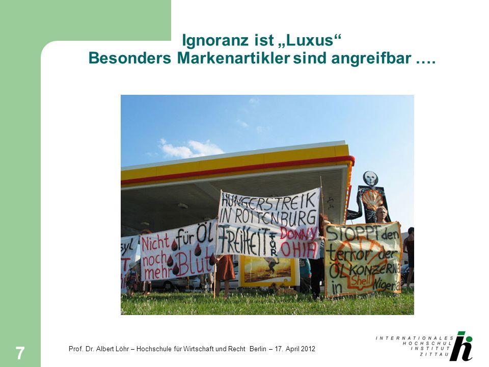 Prof. Dr. Albert Löhr – Hochschule für Wirtschaft und Recht Berlin – 17. April 2012 7 Ignoranz ist Luxus Besonders Markenartikler sind angreifbar ….