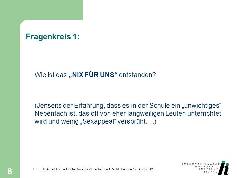 Prof. Dr. Albert Löhr – Hochschule für Wirtschaft und Recht Berlin – 17. April 2012 8 Fragenkreis 1: Wie ist das NIX FÜR UNS entstanden? (Jenseits der
