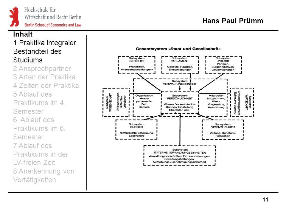 11 Hans Paul Prümm Inhalt 1 Praktika integraler Bestandteil des Studiums 2 Ansprechpartner 3 Arten der Praktika 4 Zeiten der Praktika 5 Ablauf des Pra