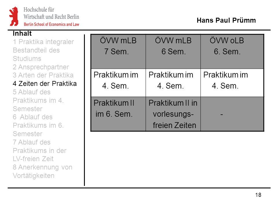 18 Hans Paul Prümm Inhalt 1 Praktika integraler Bestandteil des Studiums 2 Ansprechpartner 3 Arten der Praktika 4 Zeiten der Praktika 5 Ablauf des Pra