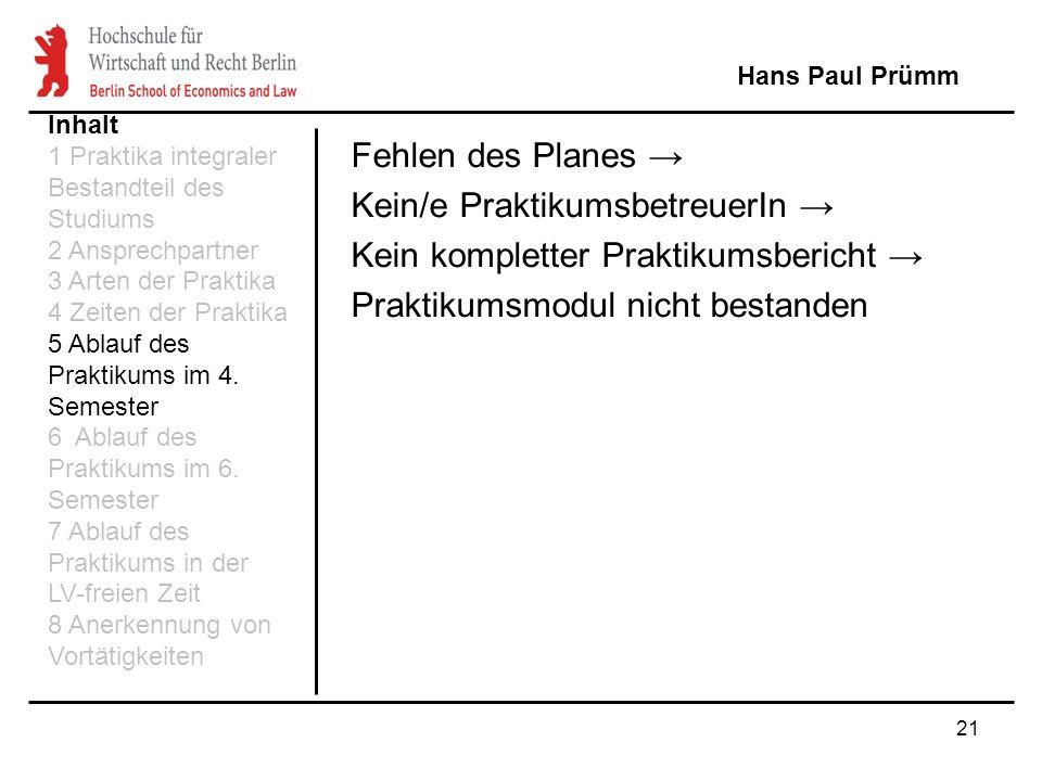 21 Fehlen des Planes Kein/e PraktikumsbetreuerIn Kein kompletter Praktikumsbericht Praktikumsmodul nicht bestanden Hans Paul Prümm Inhalt 1 Praktika i