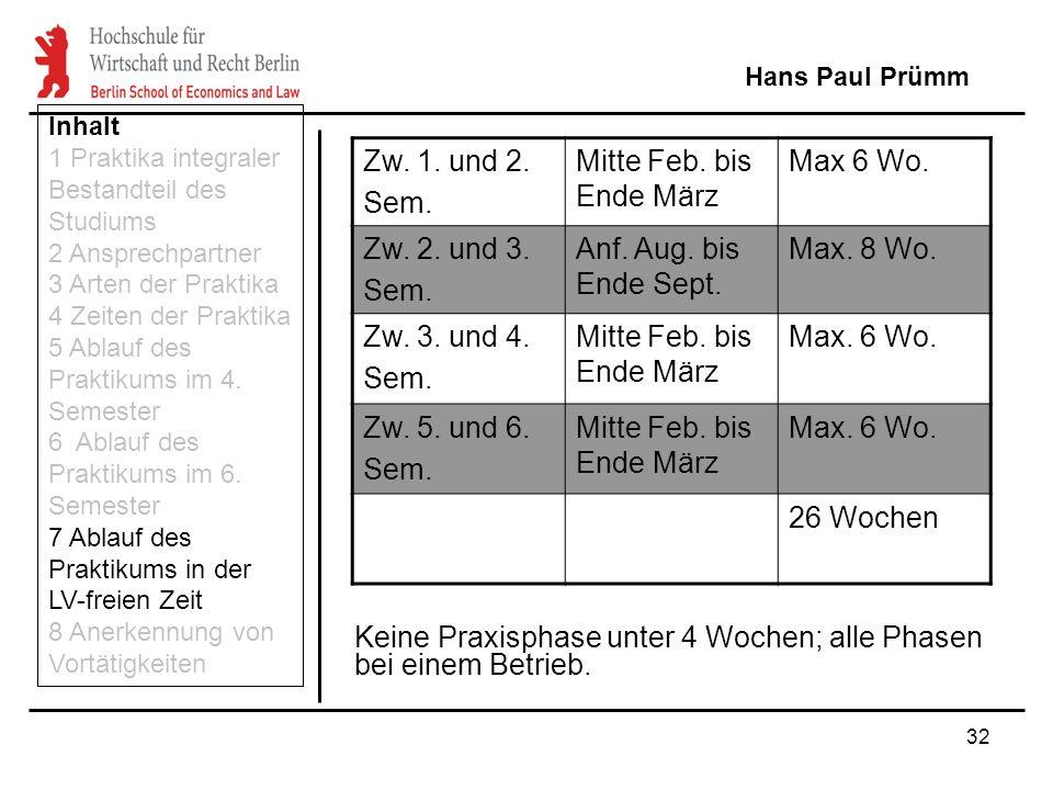 32 Keine Praxisphase unter 4 Wochen; alle Phasen bei einem Betrieb. Hans Paul Prümm Inhalt 1 Praktika integraler Bestandteil des Studiums 2 Ansprechpa